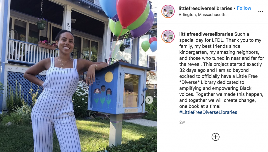 Instagram photo of Sarah Kamya with her Little Diverse Library